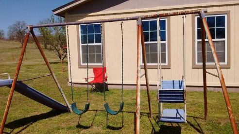 Swing set before